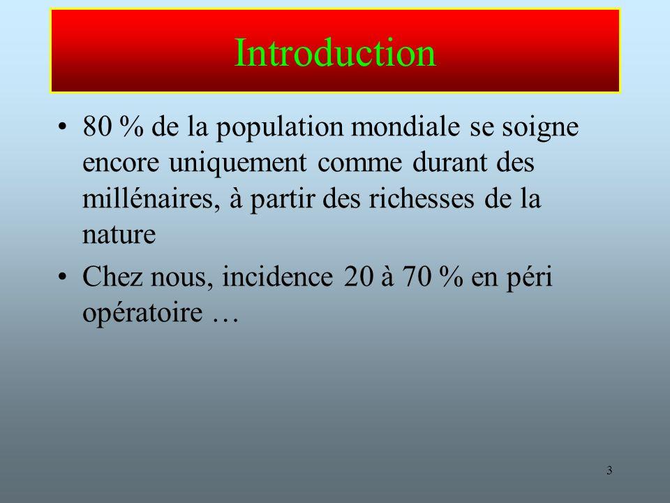 Introduction 80 % de la population mondiale se soigne encore uniquement comme durant des millénaires, à partir des richesses de la nature.