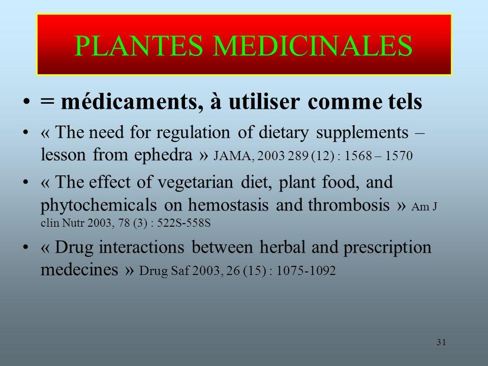 PLANTES MEDICINALES = médicaments, à utiliser comme tels