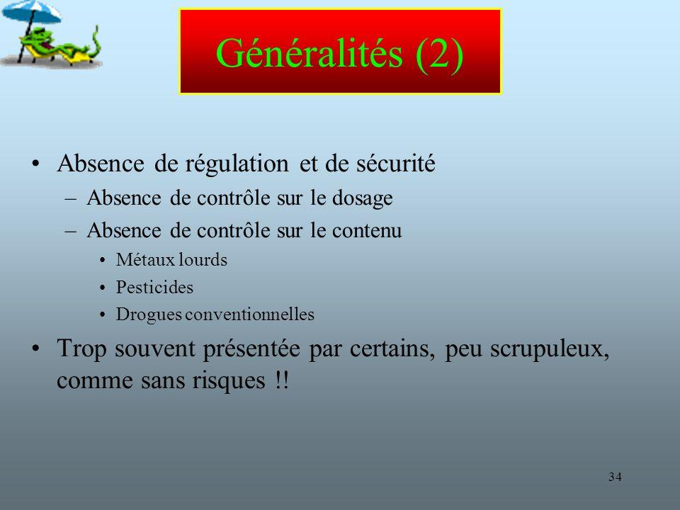 Généralités (2) Absence de régulation et de sécurité