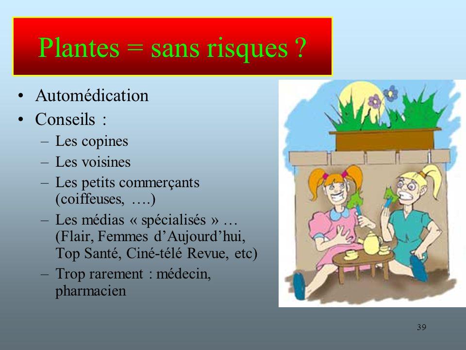 Plantes = sans risques Automédication Conseils : Les copines