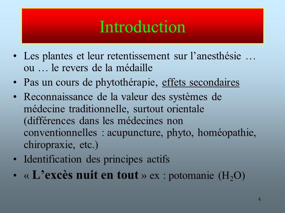 Introduction Les plantes et leur retentissement sur l'anesthésie … ou … le revers de la médaille. Pas un cours de phytothérapie, effets secondaires.