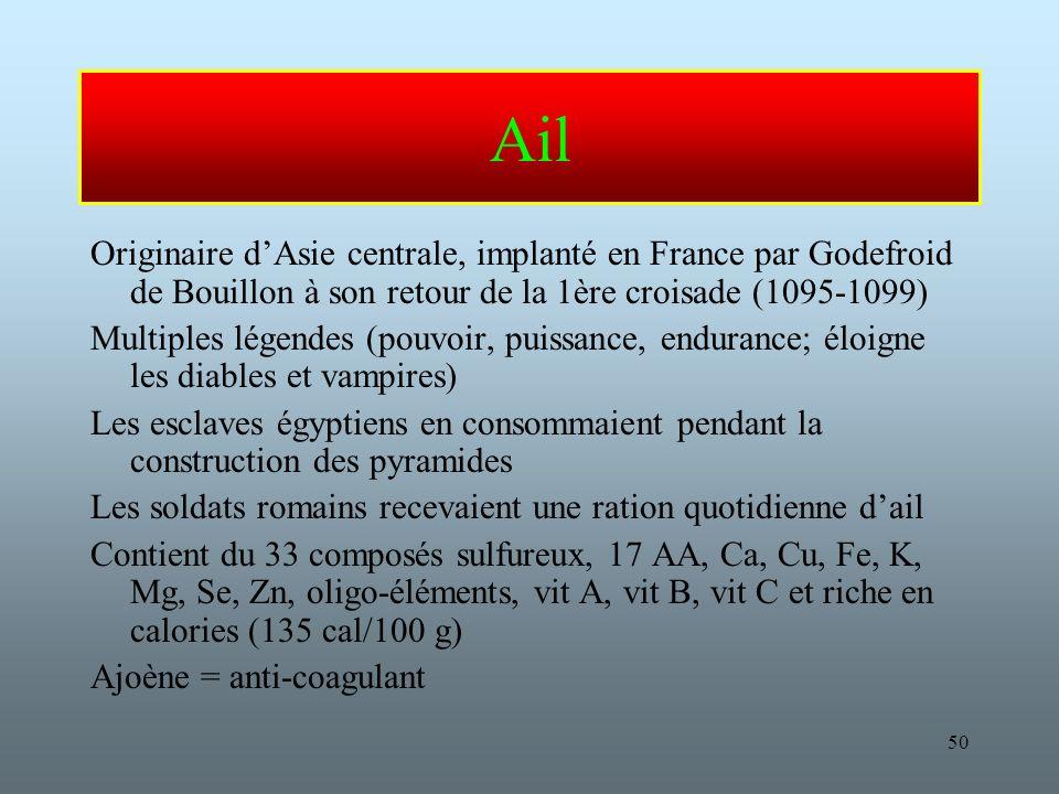 Ail Originaire d'Asie centrale, implanté en France par Godefroid de Bouillon à son retour de la 1ère croisade (1095-1099)