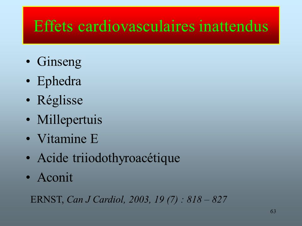 Effets cardiovasculaires inattendus