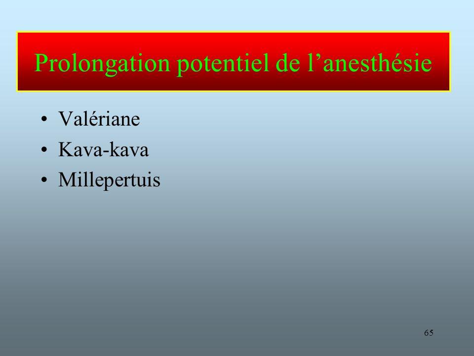 Prolongation potentiel de l'anesthésie