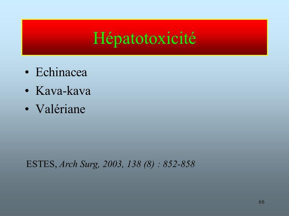 Hépatotoxicité Echinacea Kava-kava Valériane