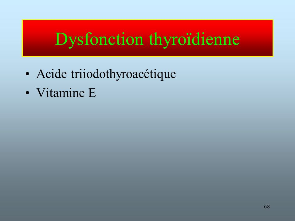 Dysfonction thyroïdienne