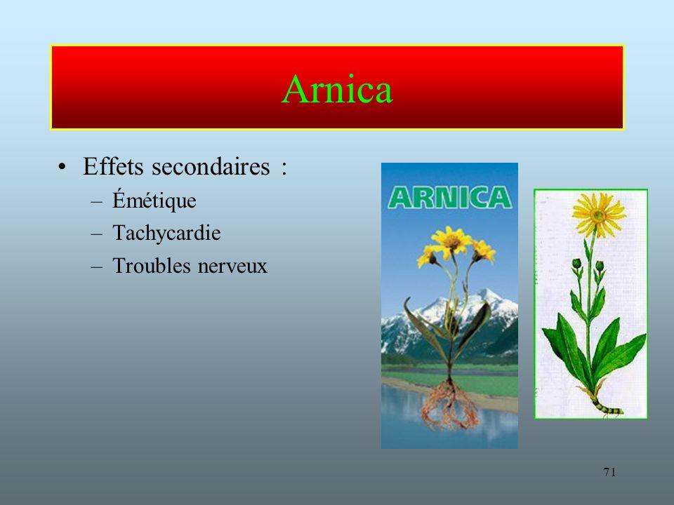 Arnica Effets secondaires : Émétique Tachycardie Troubles nerveux