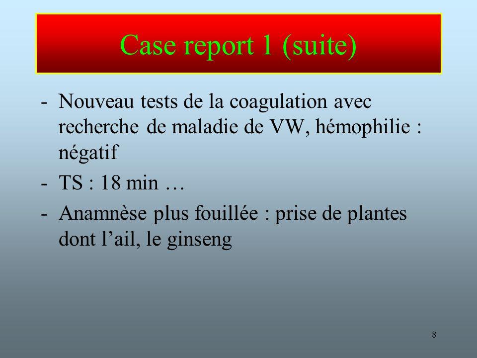 Case report 1 (suite) Nouveau tests de la coagulation avec recherche de maladie de VW, hémophilie : négatif.