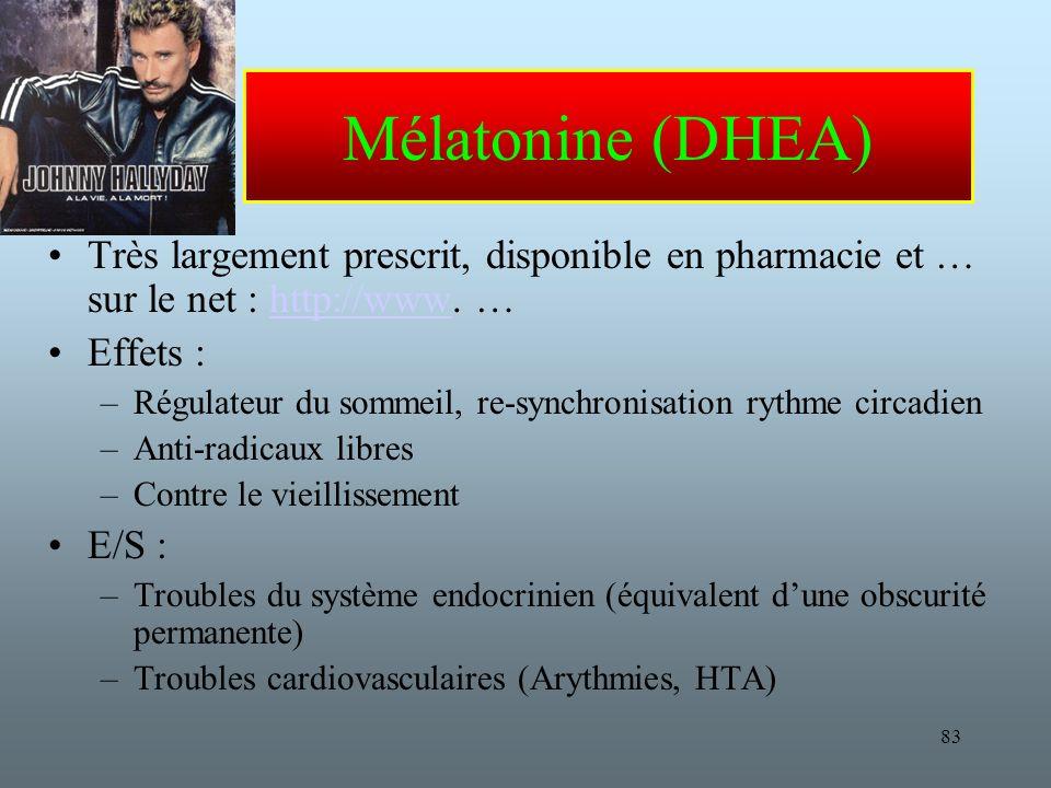 Mélatonine (DHEA) Très largement prescrit, disponible en pharmacie et … sur le net : http://www. … Effets :
