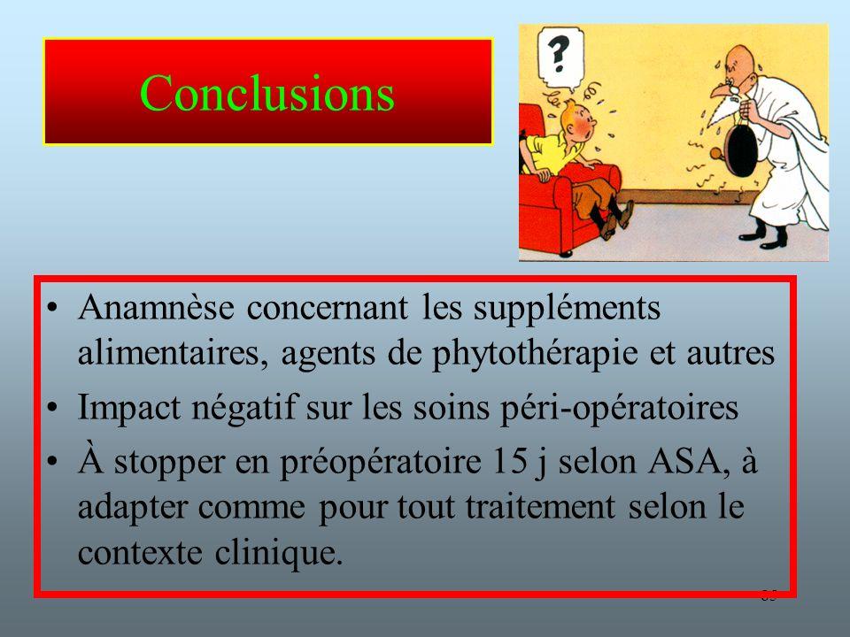 Conclusions Anamnèse concernant les suppléments alimentaires, agents de phytothérapie et autres. Impact négatif sur les soins péri-opératoires.