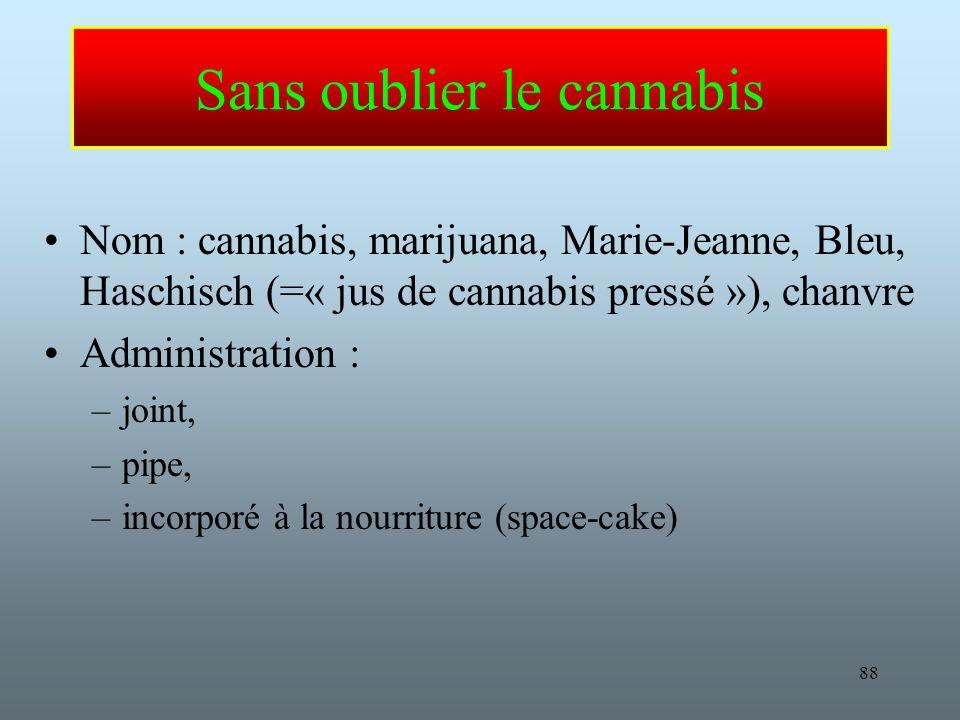 Sans oublier le cannabis