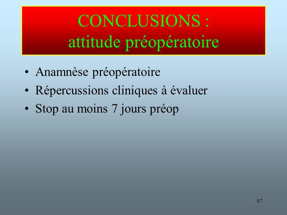 CONCLUSIONS : attitude préopératoire