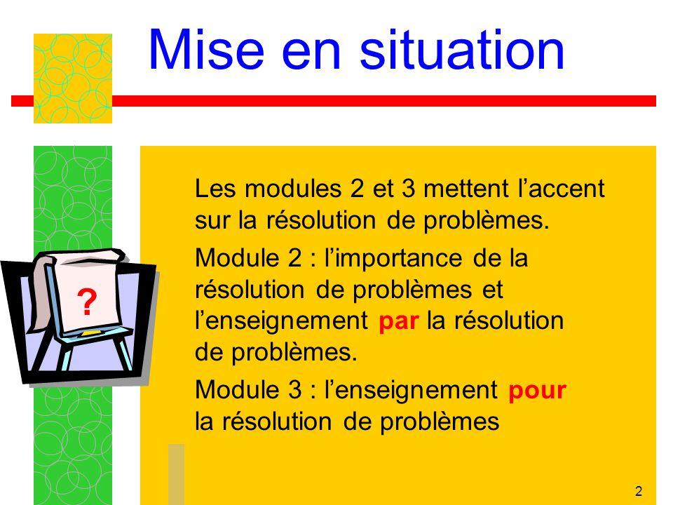 Mise en situation Les modules 2 et 3 mettent l'accent sur la résolution de problèmes.