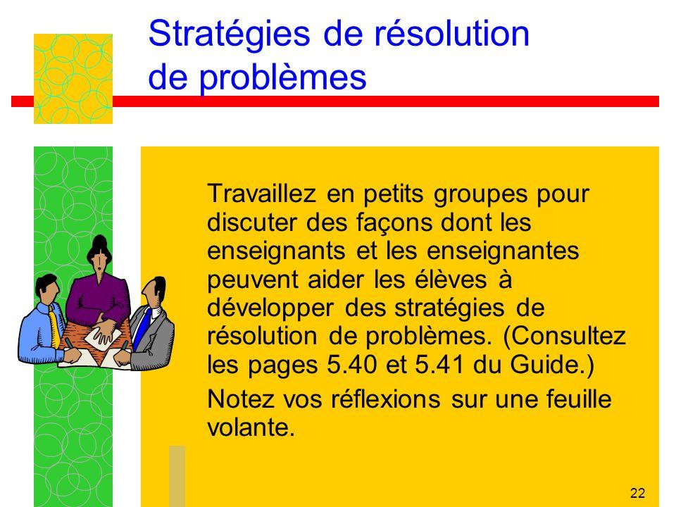 Stratégies de résolution de problèmes