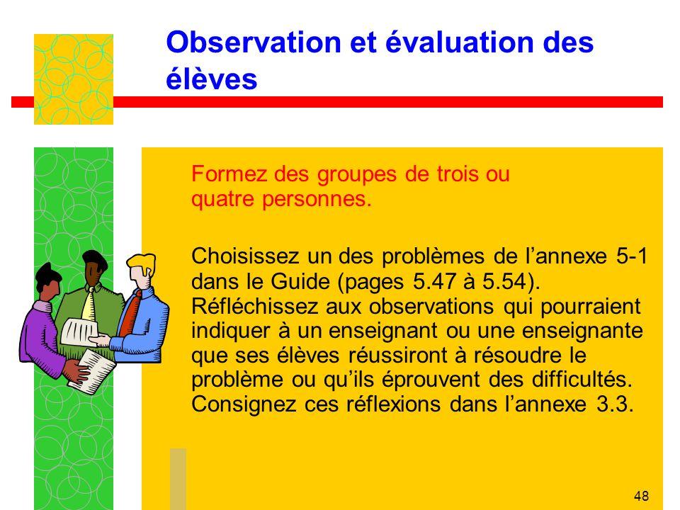 Observation et évaluation des élèves