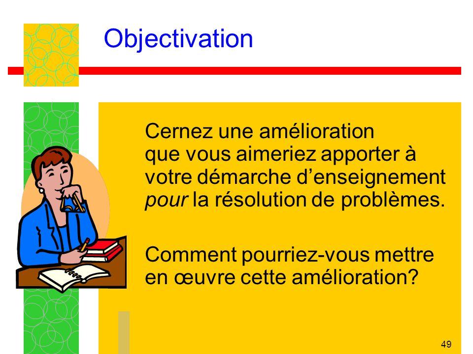 Objectivation Cernez une amélioration que vous aimeriez apporter à votre démarche d'enseignement pour la résolution de problèmes.