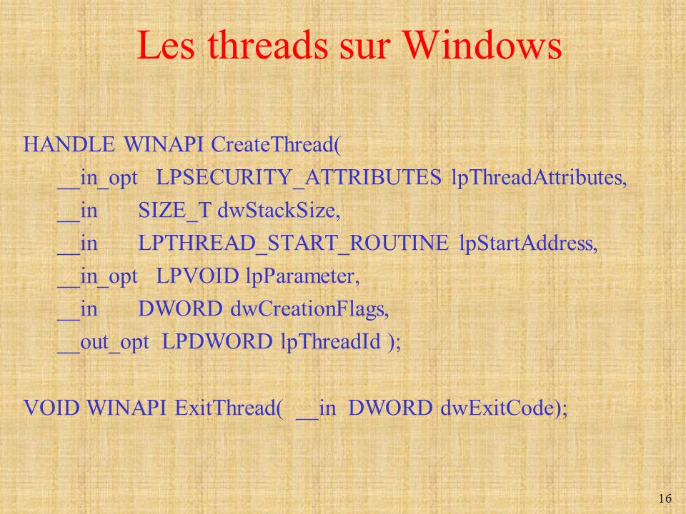 Les threads sur Windows