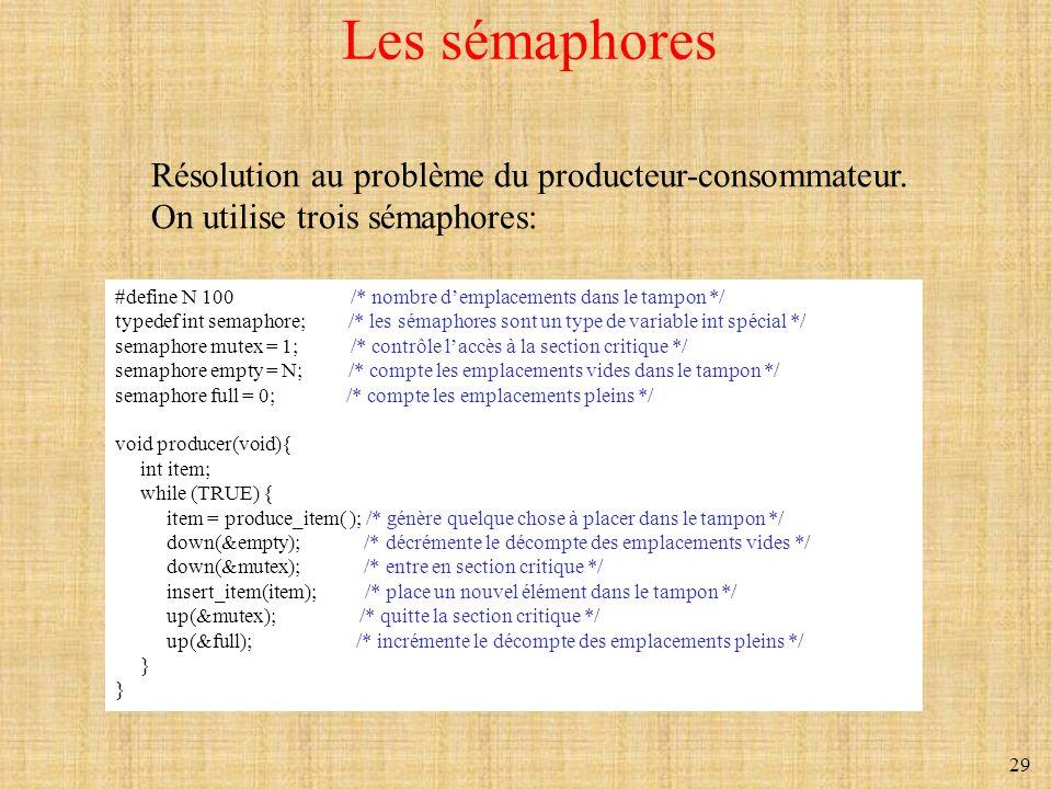Les sémaphores Résolution au problème du producteur-consommateur.