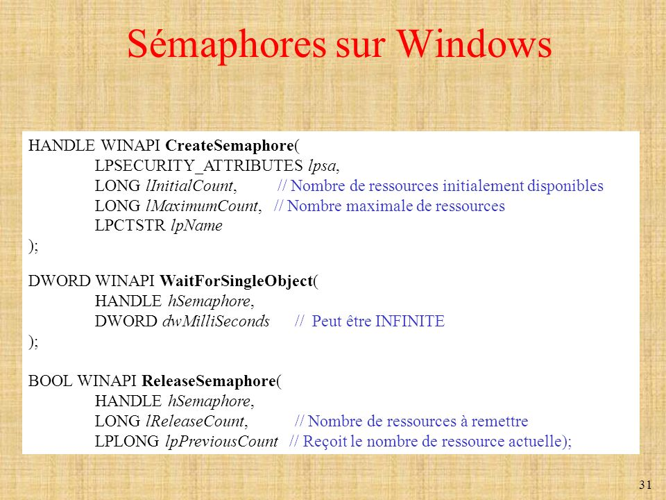 Sémaphores sur Windows