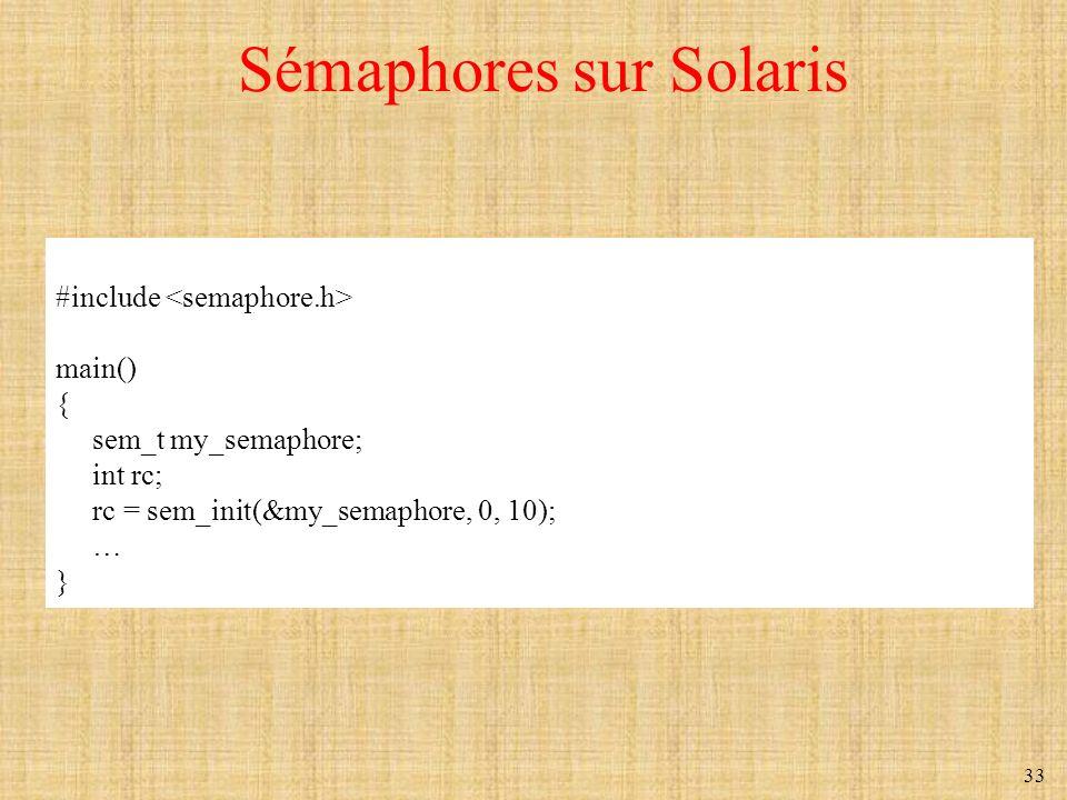 Sémaphores sur Solaris