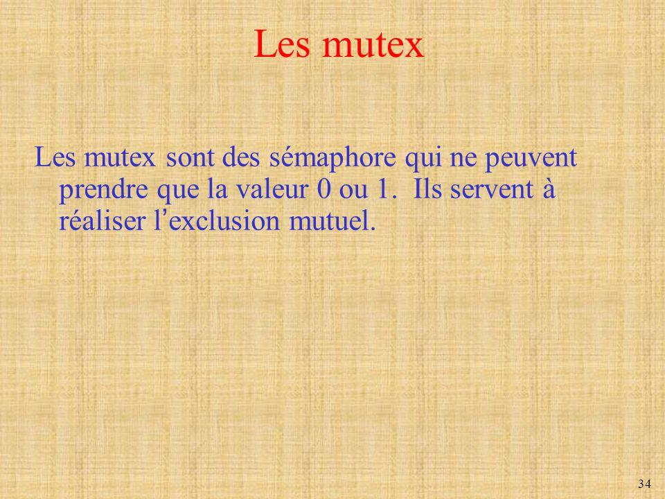 Les mutex Les mutex sont des sémaphore qui ne peuvent prendre que la valeur 0 ou 1.