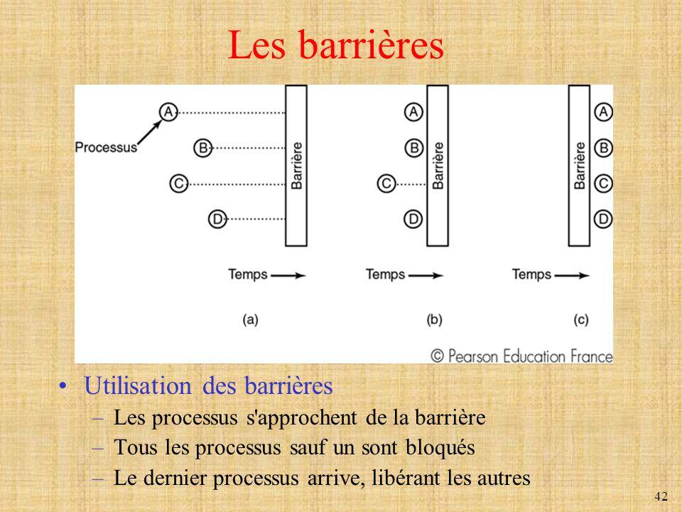Les barrières Utilisation des barrières