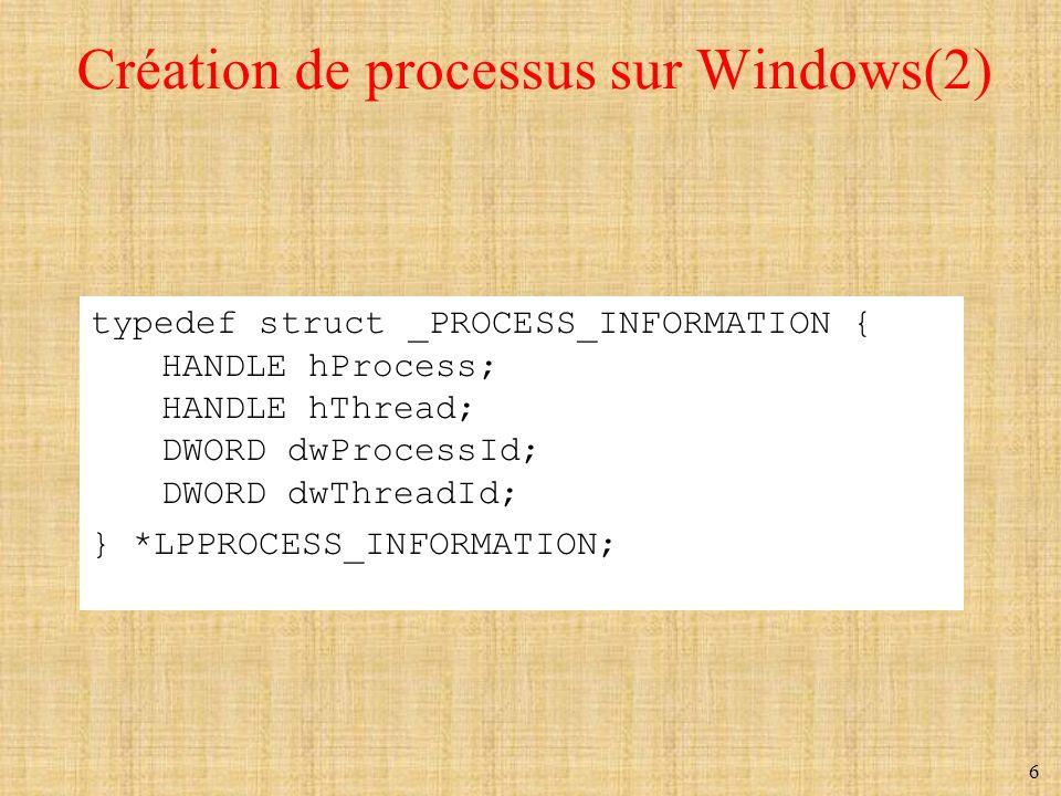 Création de processus sur Windows(2)
