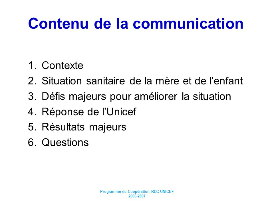 Contenu de la communication