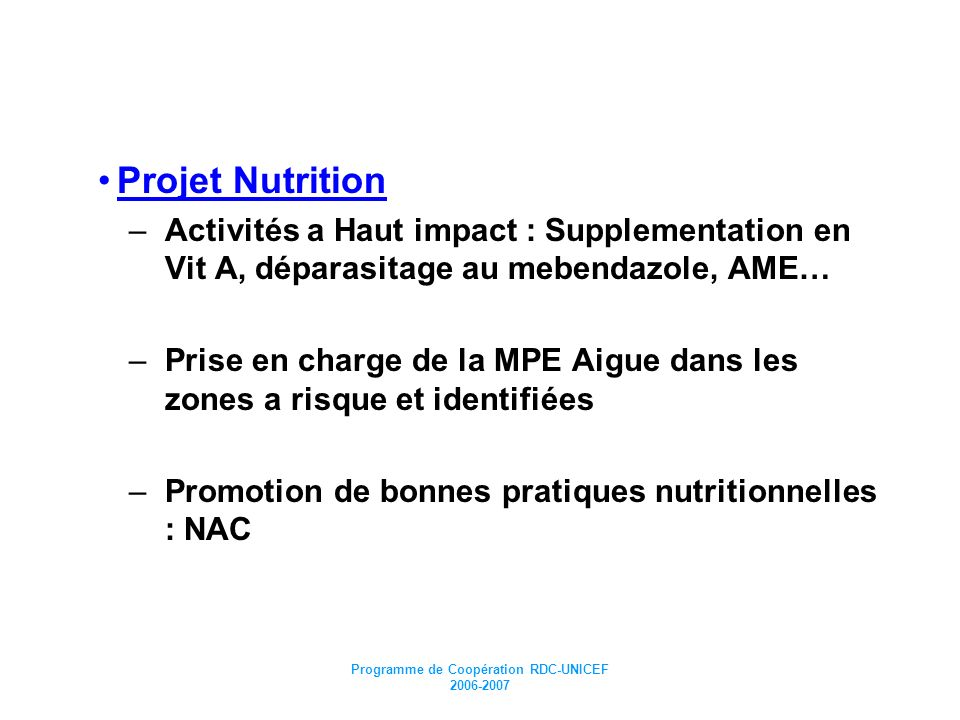 Programme de Coopération RDC-UNICEF 2006-2007