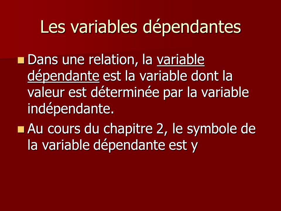 Les variables dépendantes