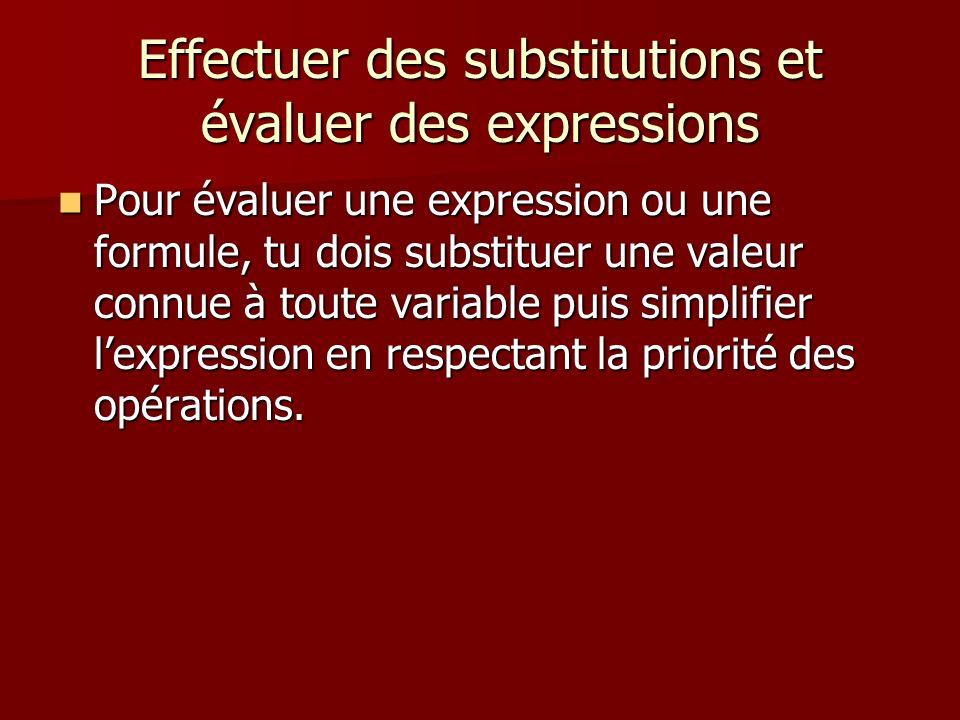 Effectuer des substitutions et évaluer des expressions