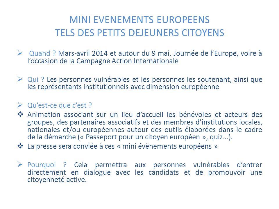 MINI EVENEMENTS EUROPEENS TELS DES PETITS DEJEUNERS CITOYENS