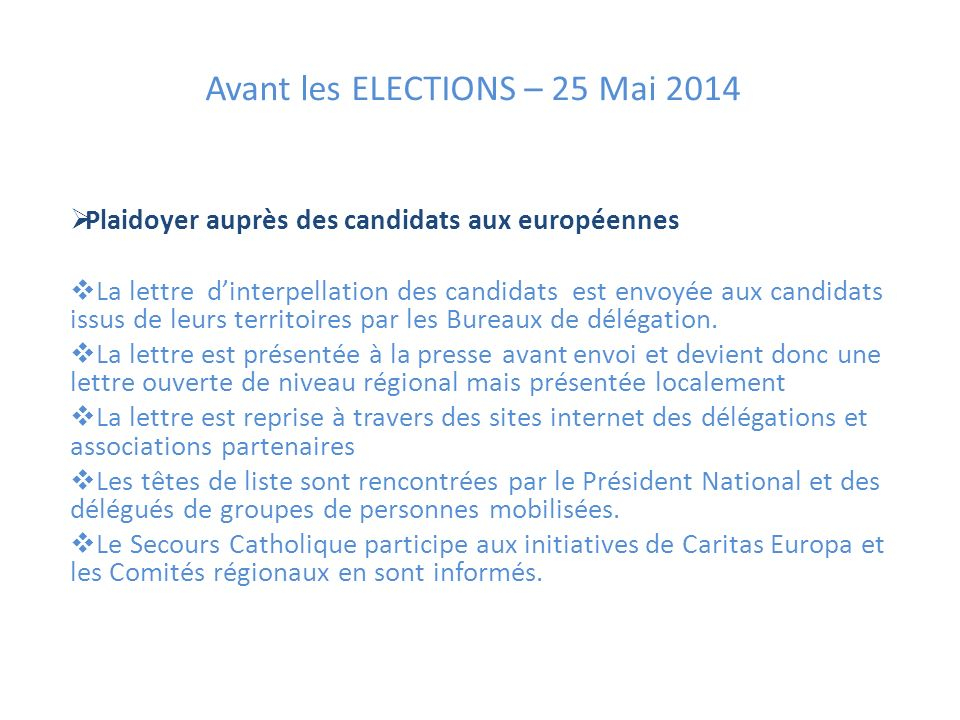 Avant les ELECTIONS – 25 Mai 2014