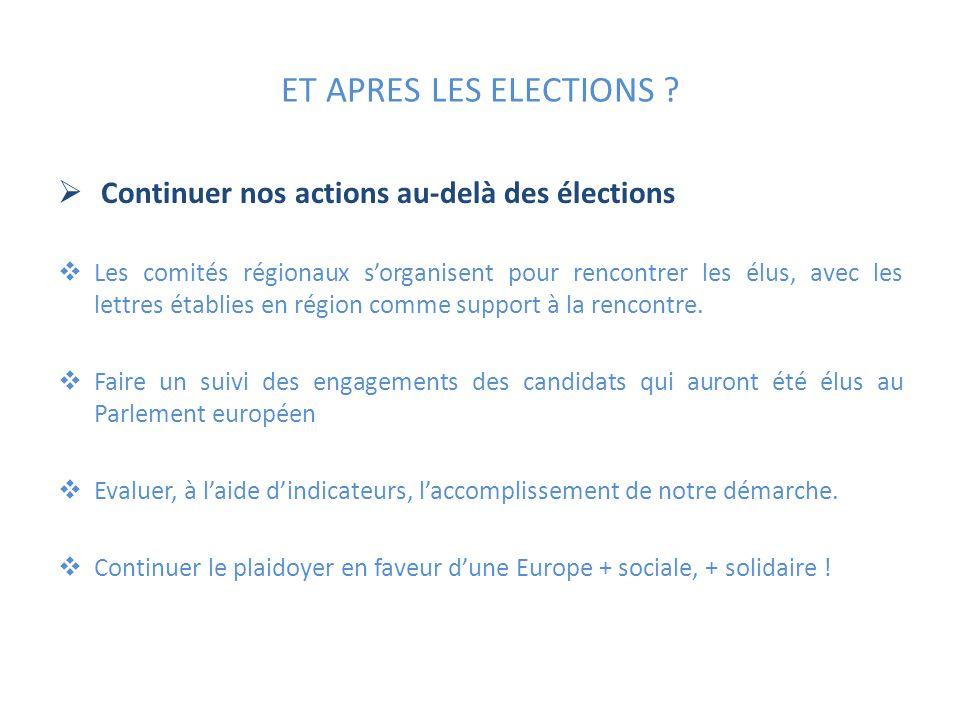 ET APRES LES ELECTIONS Continuer nos actions au-delà des élections