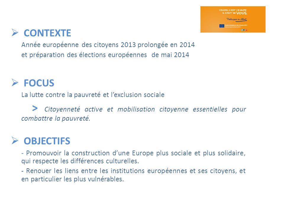 CONTEXTE Année européenne des citoyens 2013 prolongée en 2014. et préparation des élections européennes de mai 2014.