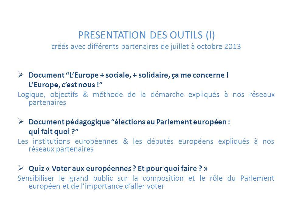 PRESENTATION DES OUTILS (I) créés avec différents partenaires de juillet à octobre 2013