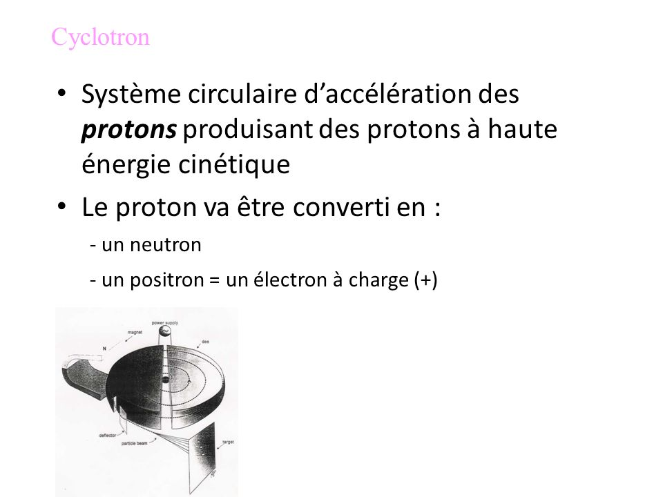 Cyclotron Système circulaire d'accélération des protons produisant des protons à haute énergie cinétique.