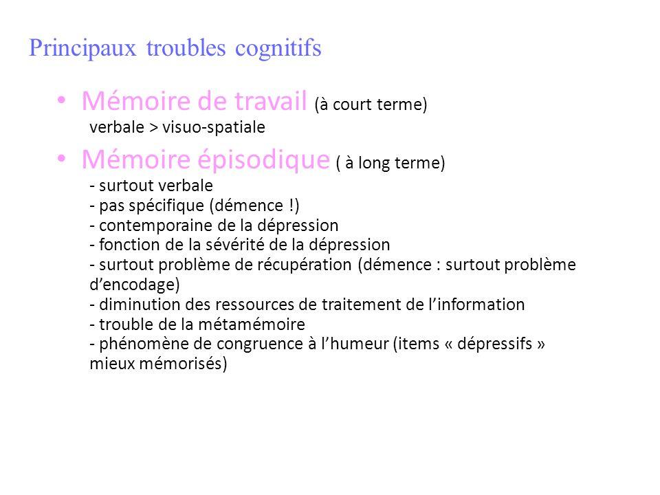 Mémoire de travail (à court terme) verbale > visuo-spatiale