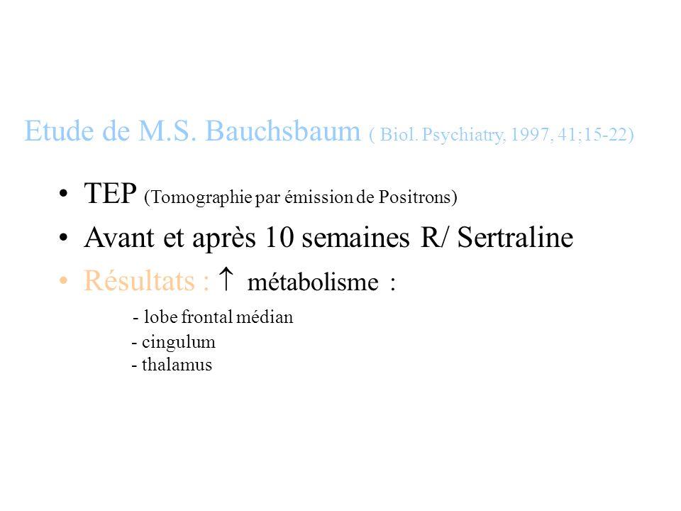 Etude de M.S. Bauchsbaum ( Biol. Psychiatry, 1997, 41;15-22)