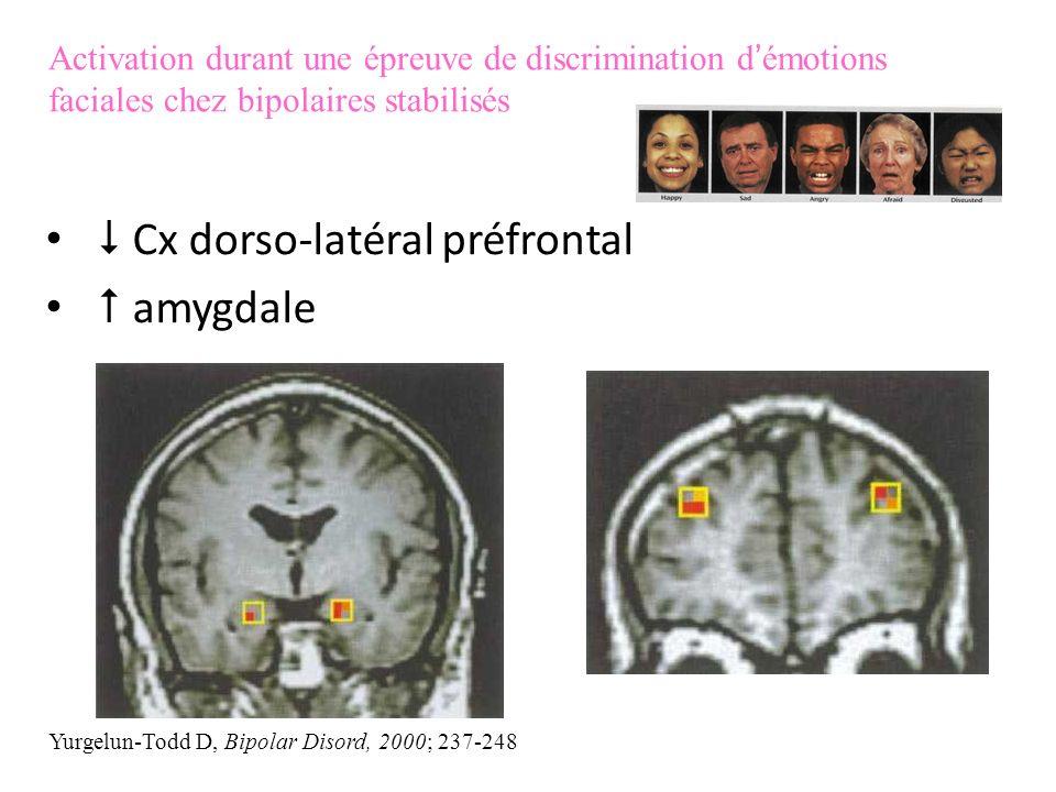  Cx dorso-latéral préfrontal  amygdale