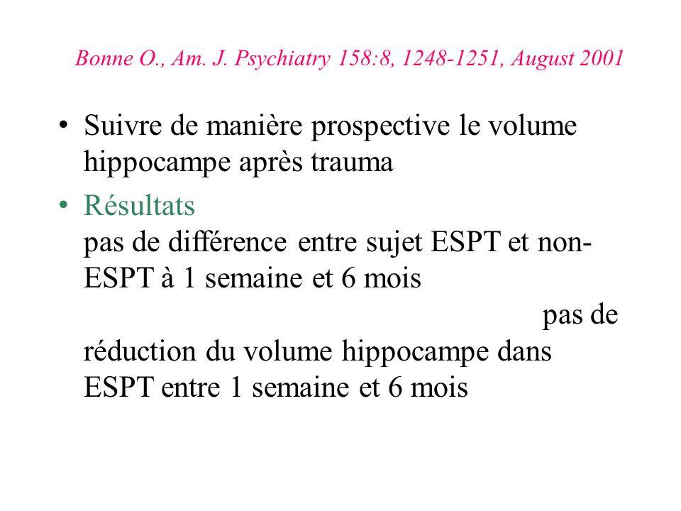 Suivre de manière prospective le volume hippocampe après trauma