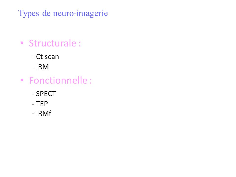 Structurale : - Ct scan - IRM