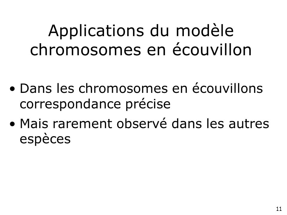Applications du modèle chromosomes en écouvillon
