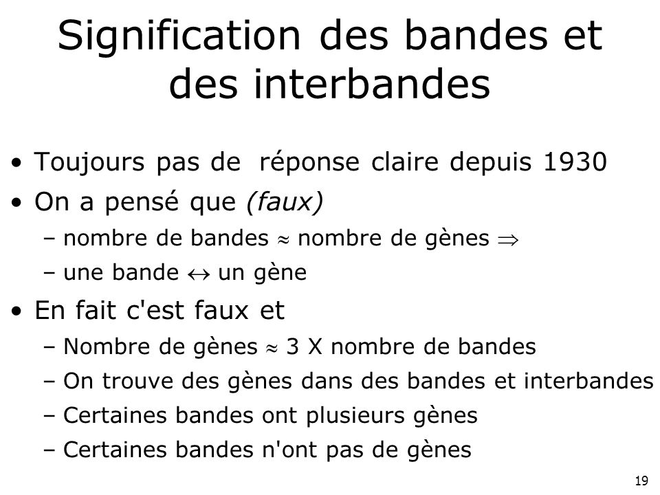 Signification des bandes et des interbandes