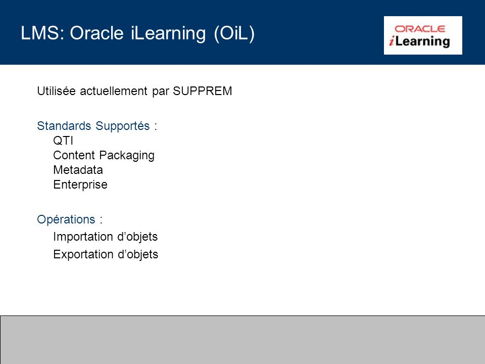 LMS: Oracle iLearning (OiL)