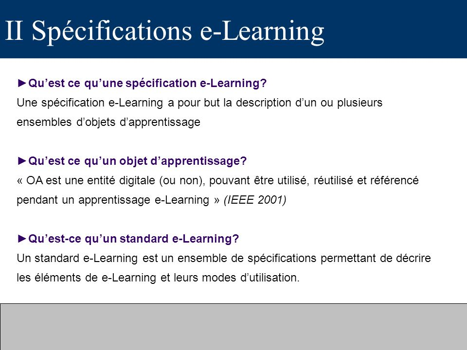 II Spécifications e-Learning