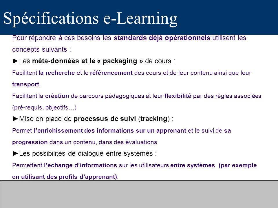 Spécifications e-Learning