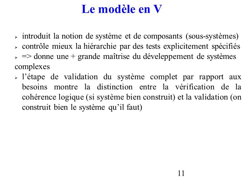 Le modèle en V introduit la notion de système et de composants (sous-systèmes) contrôle mieux la hiérarchie par des tests explicitement spécifiés.
