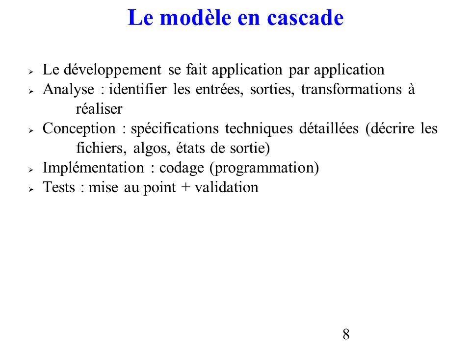 Le modèle en cascade Le développement se fait application par application. Analyse : identifier les entrées, sorties, transformations à.