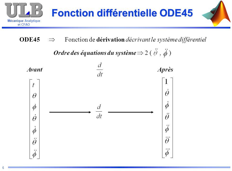 Fonction différentielle ODE45